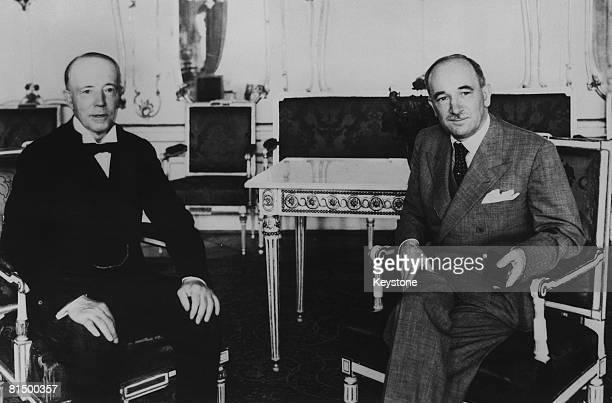British politician Viscount Walter Runciman with Czechoslovak President Edvard Benes at Prague Castle 5th August 1938 Runciman is in talks with Benes...