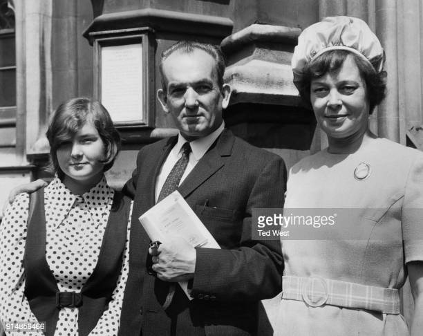 British politician Wallace Lawler , the new MP for Birmingham, Ladywood, arrives at the House of Commons with his wife Catherine and daughter Anne,...