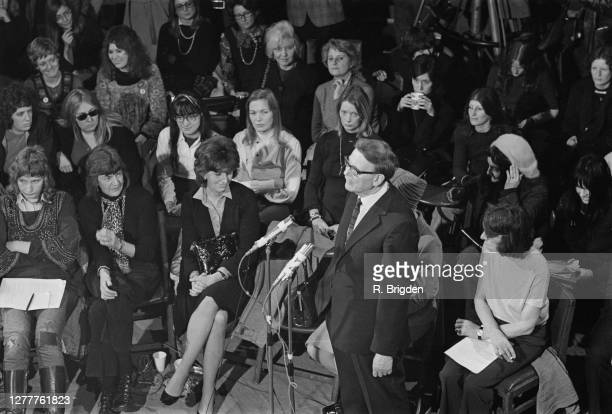 British politician Willie Hamilton , the MP for West Fife, addresses a Women's Liberation Movement rally at Caxton Hall in London, UK, 2nd February...