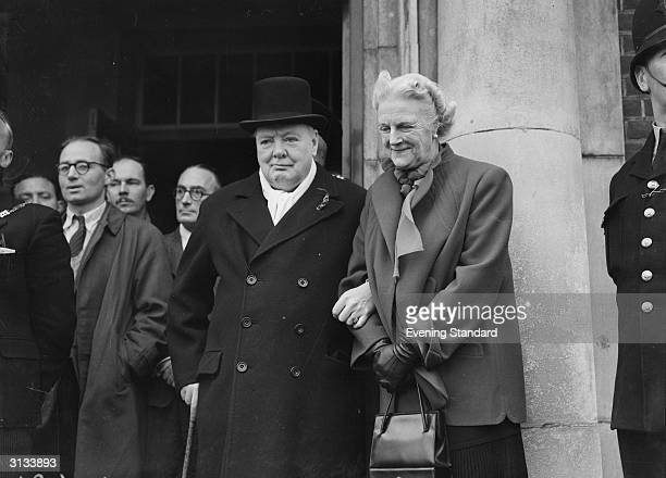 British politician Winston Churchill and Clementine Churchill in General Election year