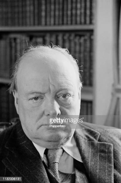 British politician Winston Churchill pictured in the library of Chartwell country house near Westerham in Kent England in October 1939 Winston...