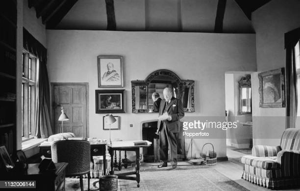 British politician Winston Churchill pictured in the study of Chartwell country house near Westerham in Kent England in October 1939 Winston...