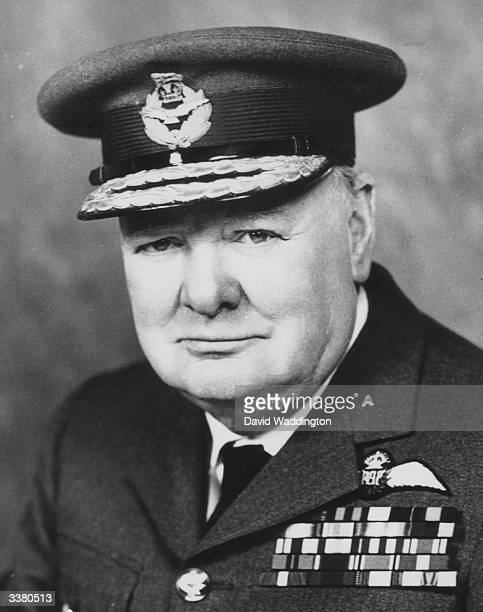 British politician Winston Churchill wearing Royal Air Force uniform