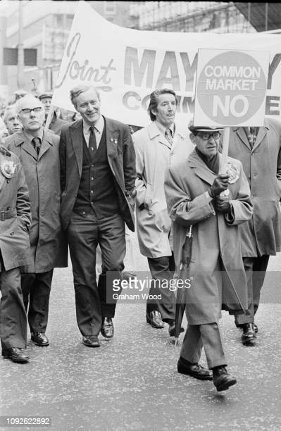 British politician writer and diarist Tony Benn Secretary of State for Industry and British Labour Party politician Dennis Skinner marching in London...