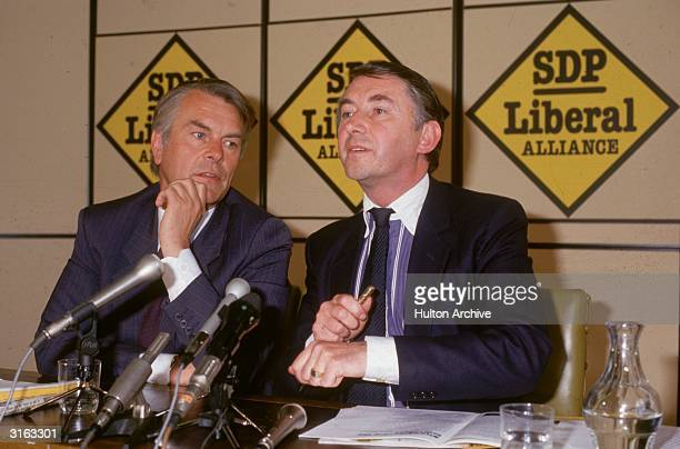British politicians David Owen and David Steel leaders of the Social Democratic Party Liberal Alliance at the launch of the 1987 Alliance election...
