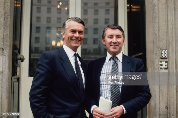 British politicians David Owen leader of the Social Democratic Party and David Steel leader of the Liberal Party during their joint election campaign...