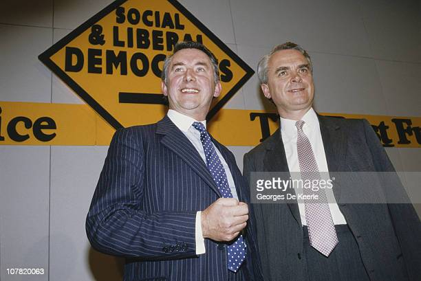 British politicians David Steel and Robert Maclennan at the creation of the Social and Liberal Democrats UK 3rd March 1988 Formed by a merger of the...