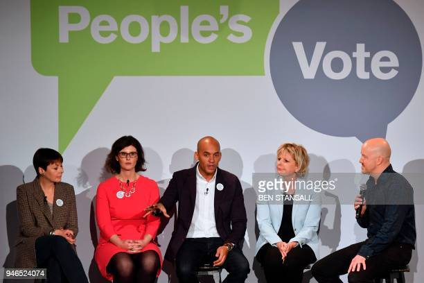 British politicians Green MP Caroline Lucas Liberal Democrat MP Layla Moran Labour Party MP Chuka Umunna and Conservative MP Anna Soubry share the...