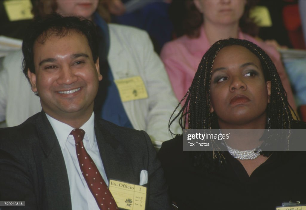 British politicians Keith Vaz and Diane Abbott at the Labour Party Conference in Brighton, UK, November 1987.