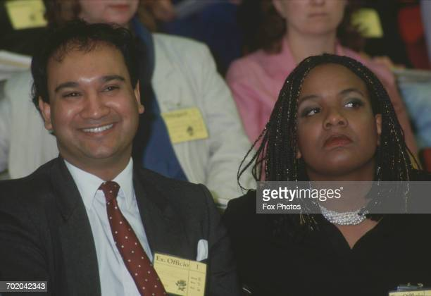 British politicians Keith Vaz and Diane Abbott at the Labour Party Conference in Brighton UK November 1987