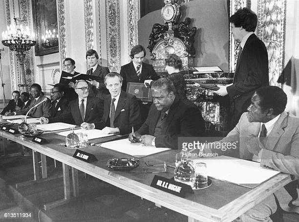 British politicians leaders of the Zimbabwe Patriotic Front and the UANC hold a conference in London to discuss the future of the independent state...