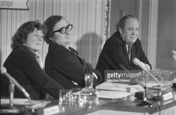 British politicians Shirley Williams John Harris Baron Harris of Greenwich and Christopher Soames at a 'Keep Britain In Europe' meeting shortly...