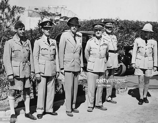 British politicians Sir Anthony Eden Sir Archibald Wavell General Henry Maitland Air Vice Marshal Peter Drummond and other officers visiting a...