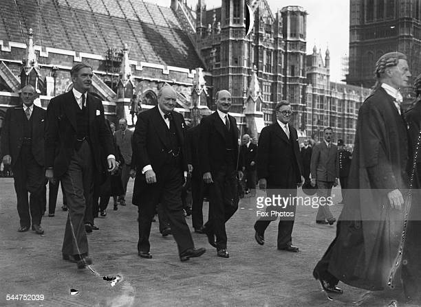 British politicians Sir Anthony Eden Sir Winston Churchill and Clement Attlee attending a thanksgiving precession from the house to St Margaret's...