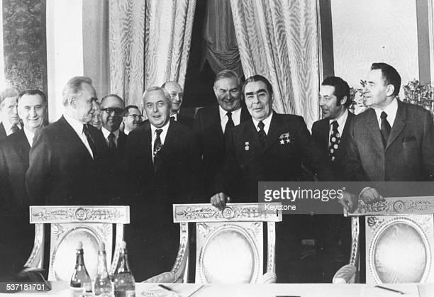British politicians visiting the Kremlin Alexei Kosygin Harold Wilson Jim Callaghan Leonid Brezhnev and Andrei Gromyko Moscow Russia February 1975