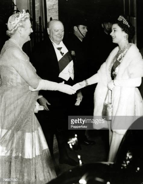 April 1955 Sir Winston Churchill watches as Lady Churchill greets HMQueen Elizabeth II as she arrives at No 10 Downing Street London This at the time...