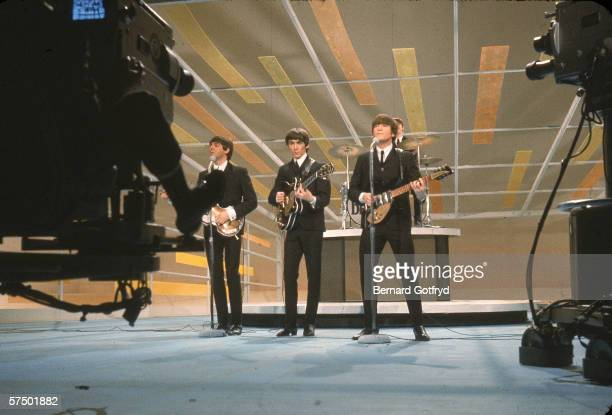 British pop and rock music group the Beatles perform on the television variety program 'The Ed Sullivan Show' New York New York February 9 1964 From...