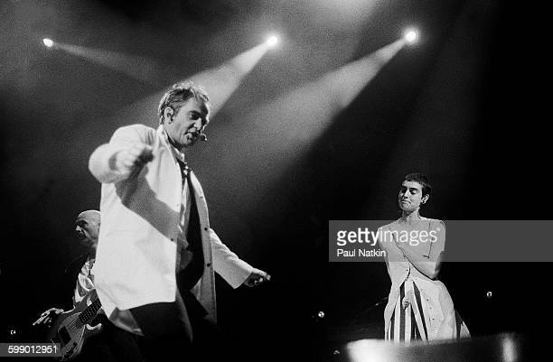 British Pop and Rock musician Peter Gabriel and Irish musician Sinead O'Connor perform together onstage at Marcus Ampitheater during the WOMAD...