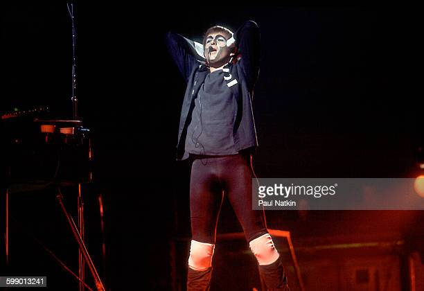 British Pop and Rock musician Peter Gabriel performs onstage at the UIC Pavilion Chicago Illinois December 2 1982