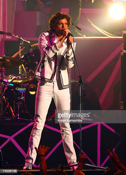 British pop artist Mika performs on stage during the show at the MTV Video Music Awards Japan 2007 at the Saitama Super Arena on May 26, 2007 in...