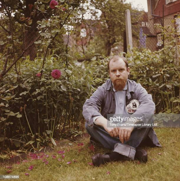British 'pop' artist Sir Peter Blake sitting in his garden of his home in Chiswick 1963