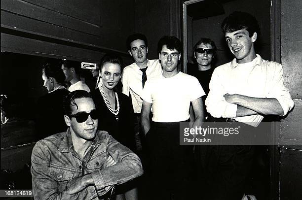 British pop band Altered Images pose backstage at Tuts nightclub Chicago Illinois August 18 1983 Among those pictured are from left Tony McDaid...