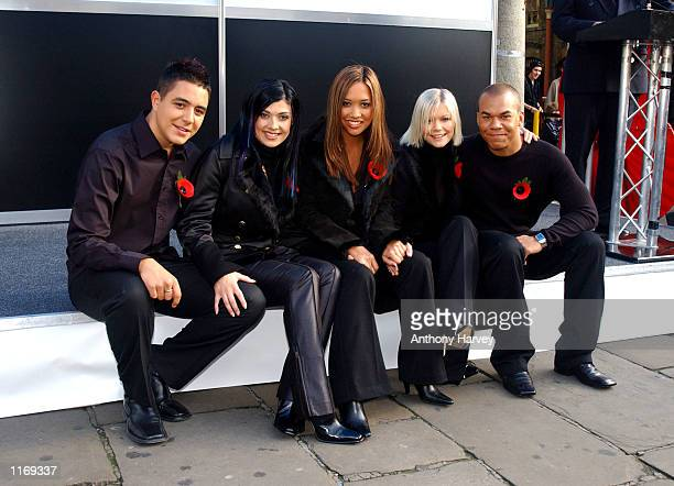 British pop band ''Hear'say Noel Kym Myleene Suzanne and Danny attend the launch of the ''Royal British Legion's 2001 Poppy Appeal'' October 25 2001...