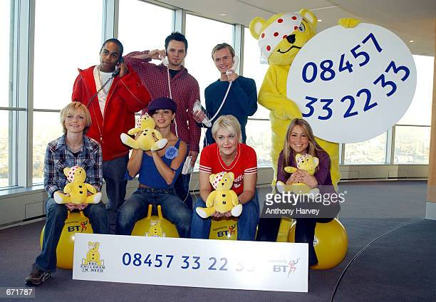 British pop band S Club 7 Bradley Mcintosh Paul Cattermolle John Lee Hannah Spearritt Tina Barrett Joe Omeara and Rachael Stephens pose for...