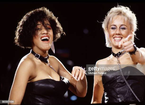 British pop duo Pepsi & Shirlie as backing singers for Wham! during the group's Australian tour, circa 1985. The duo became a pop group in their own...