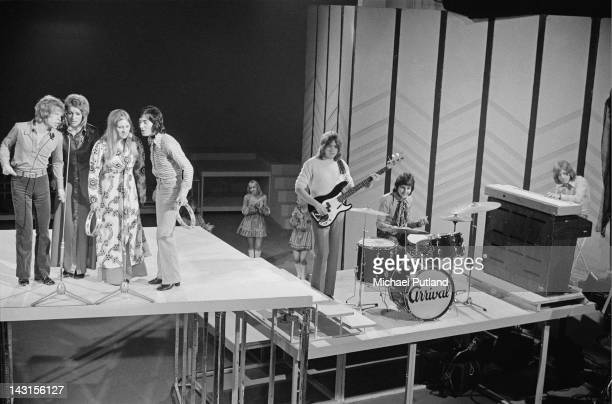 British pop group Arrival performing on the BBC TV show 'The Young Generation' UK April 1970