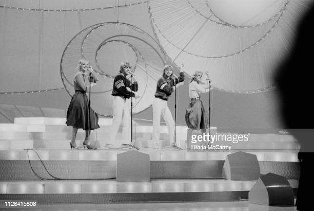 British pop group Bucks Fizz performing at the 1981 Eurovision Song Contest Dublin Ireland 6th April 1981