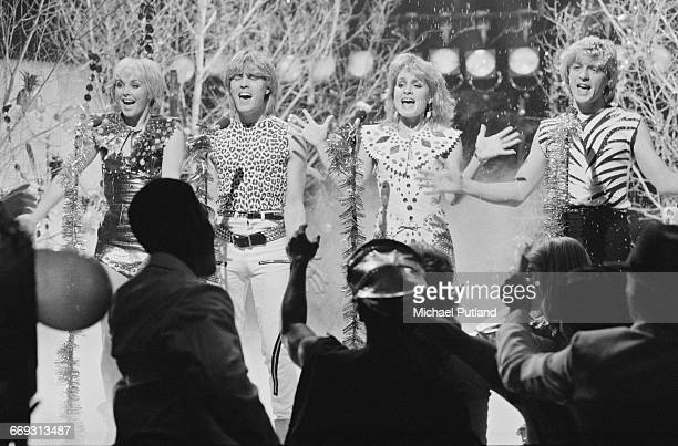 British pop group Bucks Fizz performing 'The Land Of Make Believe' on the Christmas Eve edition of the BBC TV music show 'Top Of The Pops' which was...