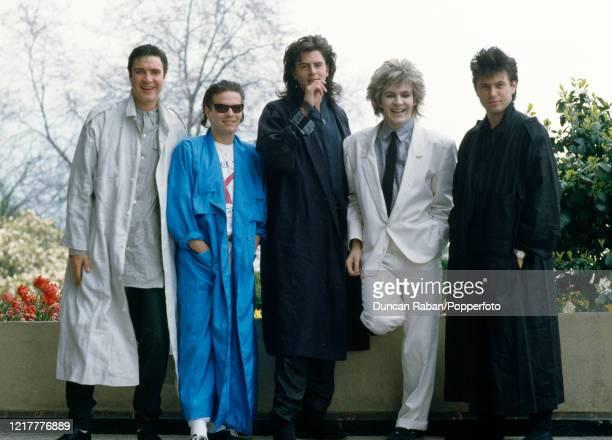 British pop group Duran Duran Simon Le Bon, Andy Taylor, John Taylor, Nick Rhodes and Roger Taylor, pose for a group shot, circa 1984.