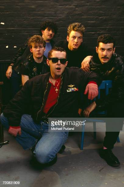 British pop group Frankie Goes To Hollywood London 1984 Clockwise from front singer Holly Johnson guitarist Brian Nash drummer Peter Gill bassist...