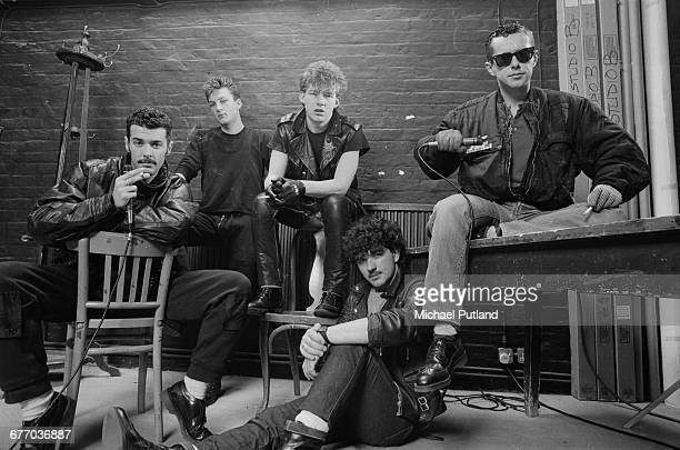 British pop group Frankie Goes To Hollywood London FebruaryMarch 1983 Left to right keyboard player Paul Rutherford bassist Mark O'Toole guitarist...