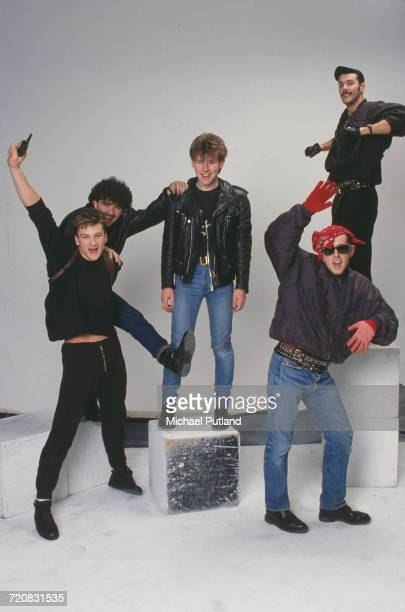 British pop group Frankie Goes To Hollywood London March 1984 Left to right drummer Peter Gill bassist Mark O'Toole guitarist Brian Nash singer Holly...