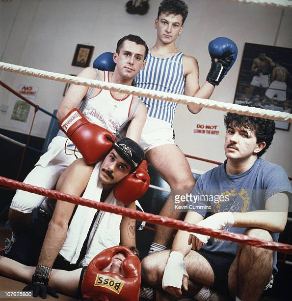 British pop group Frankie Goes To Hollywood pose in a boxing ring 21st November 1983 Left to right Holly Johnson Paul Rutherford Brian Nash Mark...