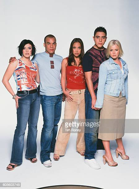 British pop group Hear'Say circa 2001 From left to right they are Kym Marsh Danny Foster Myleene Klass Noel Sullivan and Suzanne Shaw