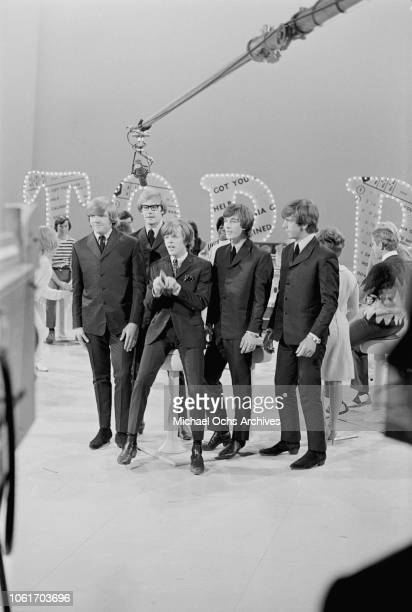 British pop group Herman's Hermits appear on 'Hullabaloo' at NBC's Studio 8H in New York City 9th February 1965 They are Karl Green Derek Leckenby...