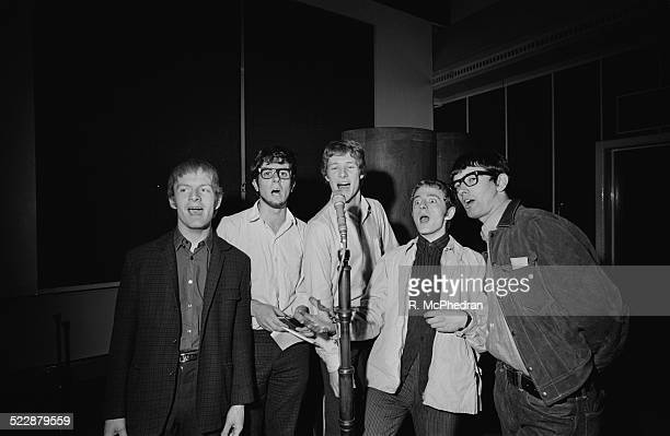 British pop group Manfred Mann at the Marquee Club London 10th August 1964 From left to right Paul Jones Mike McGuiness Mike Hugg Mike Vickers...