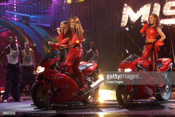 British pop group Misteeq perform on stage at the MOBO Awards at the London Docklands Arena on October 4 2001 in London