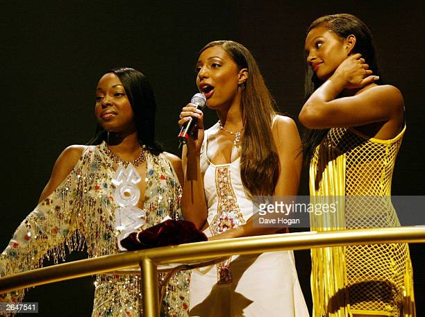 British pop group Misteeq present an award on stage at the MOBO awards at London Arena on October 1 2002 in London