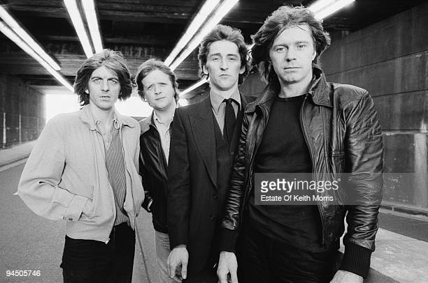 British pop group Rockpile, London, 1978. Left to right: bassist and singer Nick Lowe, drummer Billy Bremner, singer and guitarist Terry Williams and...