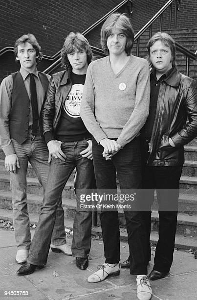 British pop group Rockpile, London, 1978. Left to right: singer and guitarist Terry Williams, singer and guitarist Dave Edmunds, bassist and singer...