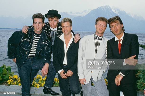 British pop group Spandau Ballet, 1987. Left to right: singer Tony Hadley, drummer John Keeble, saxophonist Steve Norman, guitarist Gary Kemp and...
