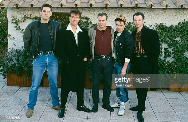British pop group Spandau Ballet, circa 1985. Left to right: singer Tony Hadley, bassist Martin Kemp, saxophonist Steve Norman, drummer John Keeble...