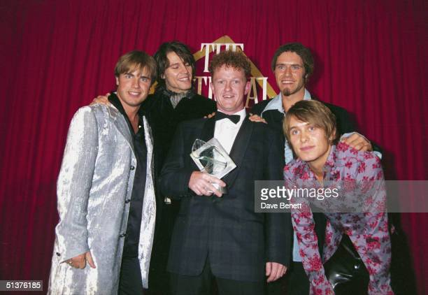 British pop group Take That at the UK National Television Awards in Wembley Arena 29th August 1995 From left to right they are Gary Barlow Jason...