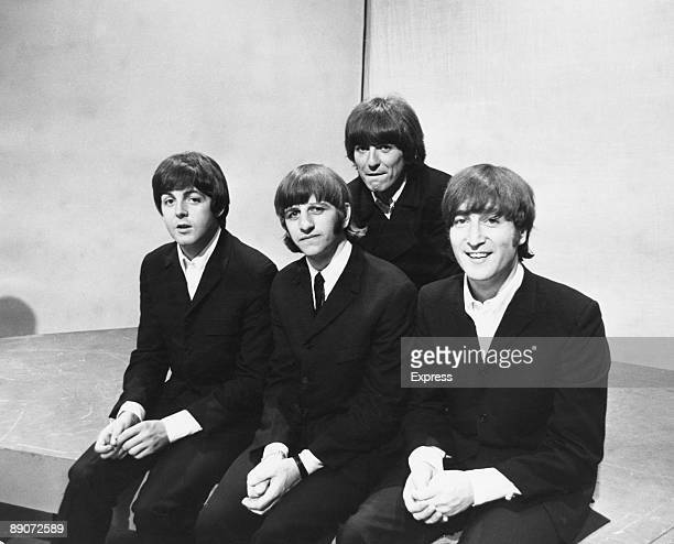 British pop group The Beatles after a television rehearsal at the BBC Television Studios in London 17th June 1966 From left to right Paul McCartney...