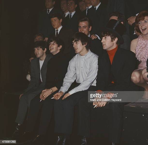 British pop group The Beatles at the Beatles Christmas Show at the Astoria Cinema Finsbury Park London December 1963 Left to right Paul McCartney...
