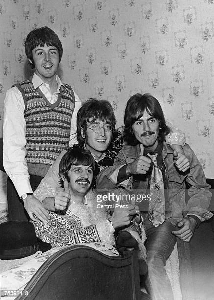 British pop group The Beatles Paul McCartney Ringo Starr John Lennon and George Harrison in their hotel room in Teignmouth Devon during the filming...